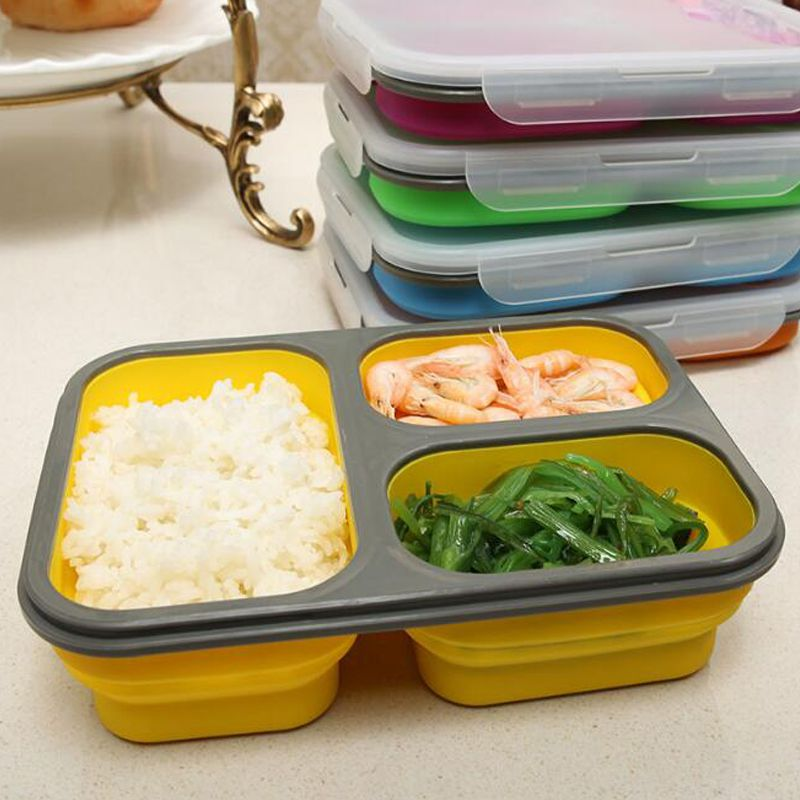 3 Compartments Silicone Bento Lunch Boxes for Adults and Kids