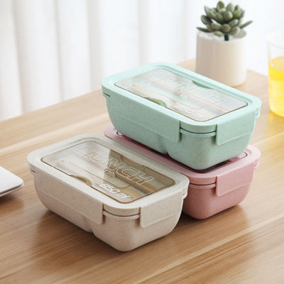 2 Compartments Bento Lunch Boxes for Adults and Kids, Wheat Straw, 850ml