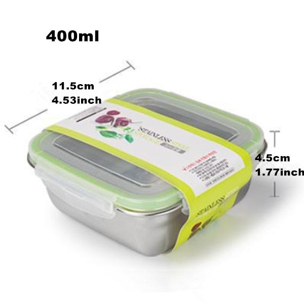 Square Stainless Steel Bento Lunch Boxes  for Adults and Kids, 3 Size