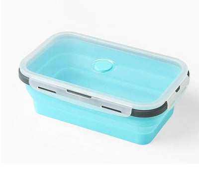 Rectangle Silicone Bento Lunch Boxes for Adults and Kids, Collapsible, Microwavable