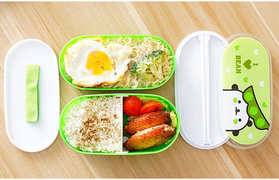 Cute Plastic Bento Lunch Boxes for Kids, Double Decker, 600ml