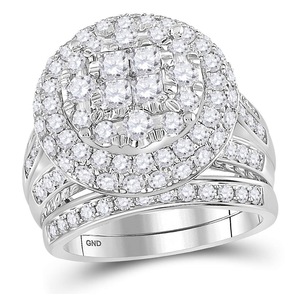 14kt White Gold Womens Princess Round Diamond Soleil Cluster Bridal Wedding Engagement Ring Band Set 3.00 Cttw