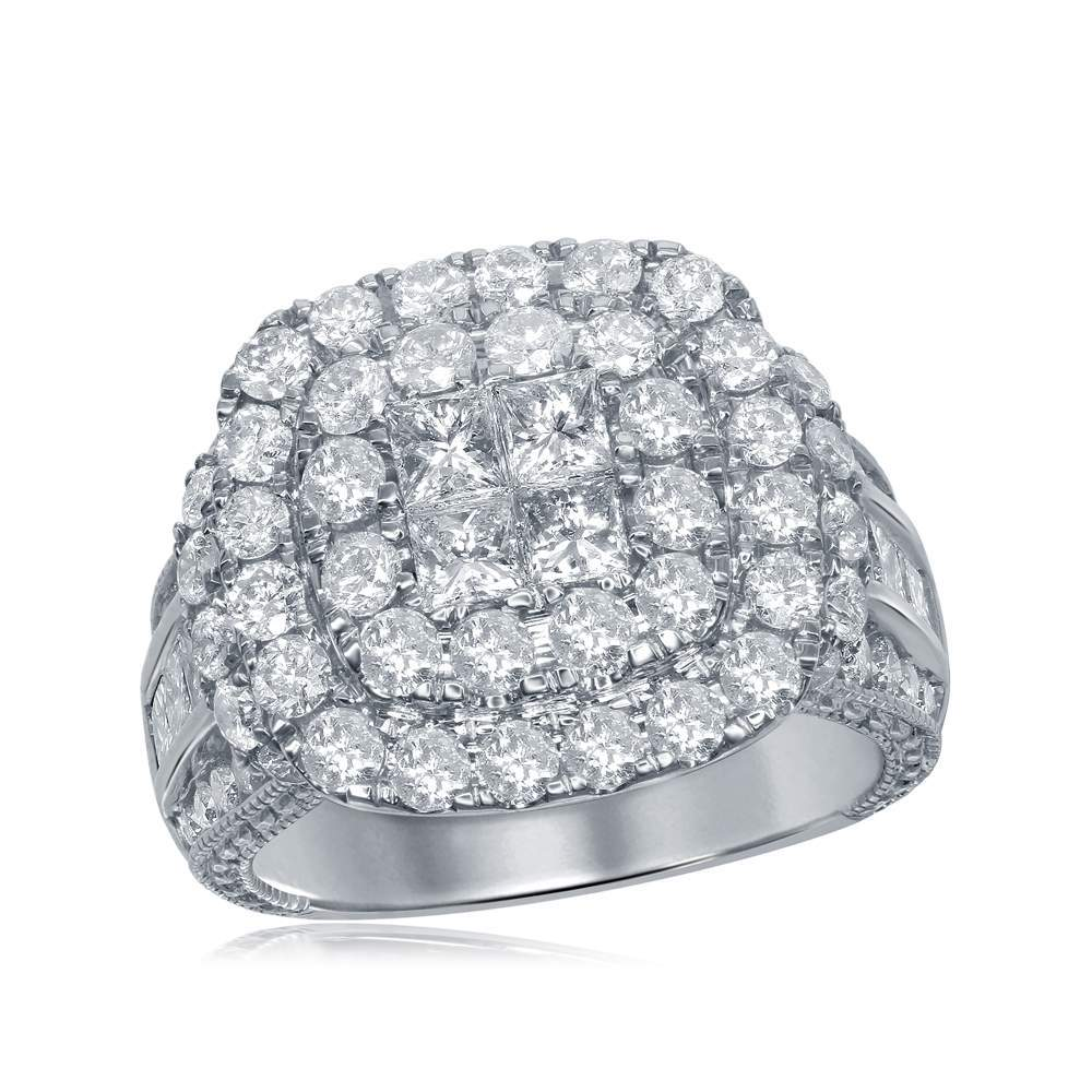 14kt White Gold Womens Princess Round Diamond Soleil Cluster Bridal Wedding Engagement Ring 3-1/2 Cttw