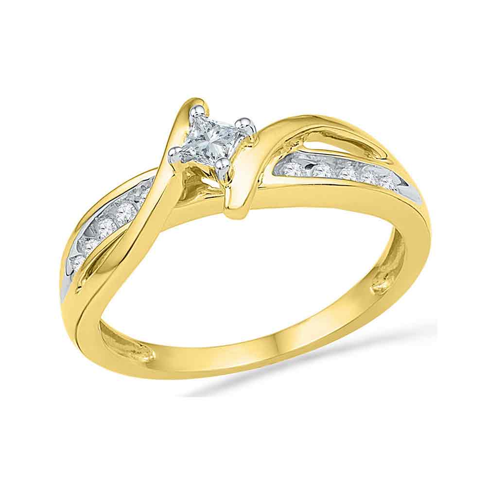 10kt Yellow Gold Womens Princess Diamond Solitaire Bridal Wedding Engagement Ring 1/5 Cttw
