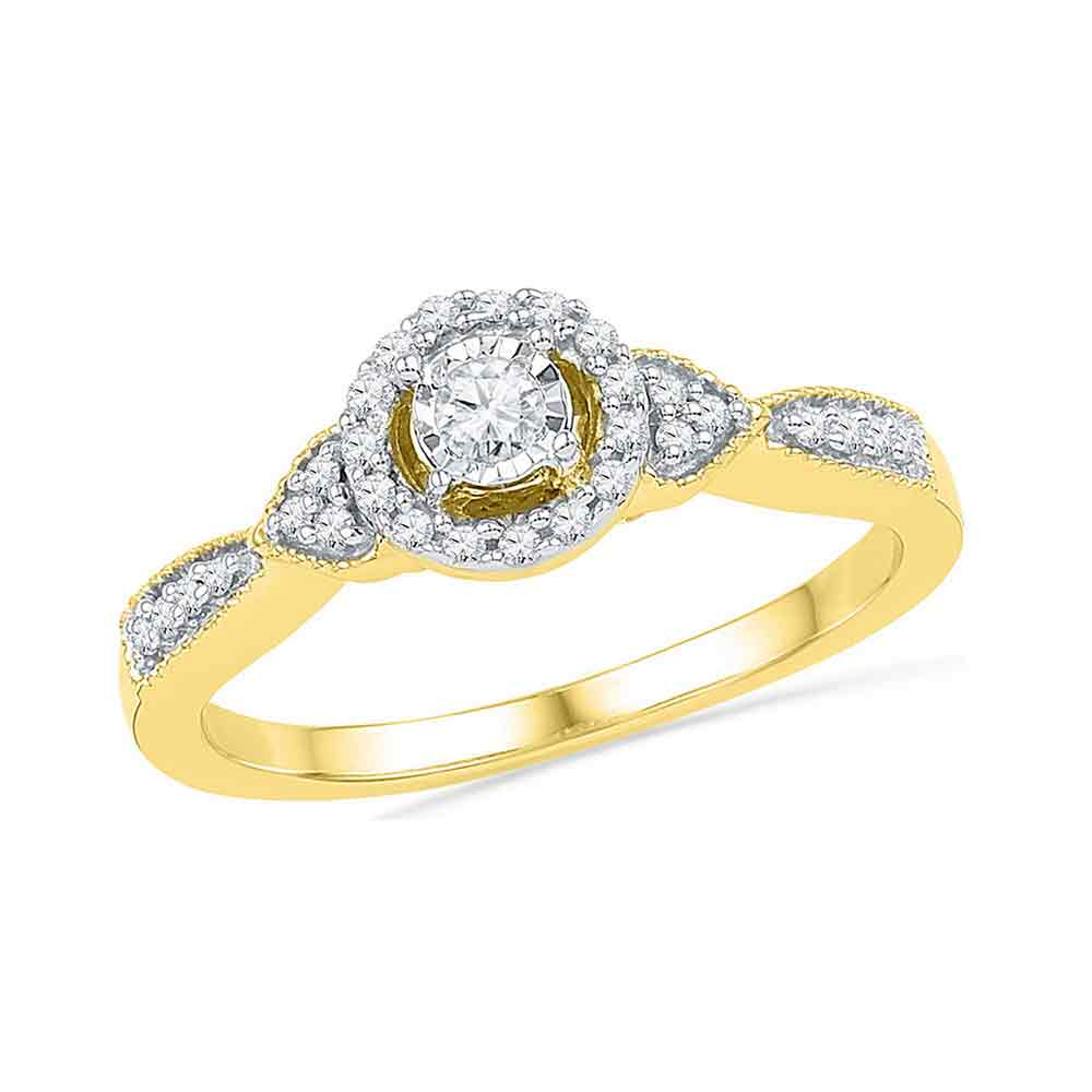 10kt Yellow Gold Womens Round Diamond Solitaire Halo Bridal Wedding Engagement Ring 1/5 Cttw