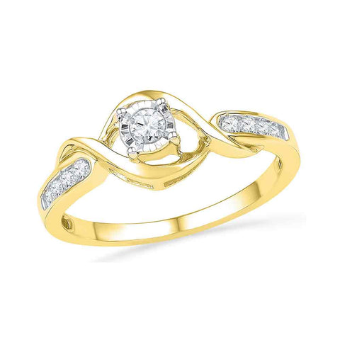 10kt Yellow Gold Womens Round Diamond Solitaire Twist Promise Bridal Ring 1/6 Cttw