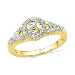 10kt Yellow Gold Womens Round Diamond Encircled Solitaire Milgrain Promise Bridal Ring 1/4 Cttw