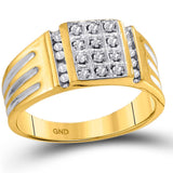 10kt Yellow Gold Mens Round Diamond Square Cluster Ring 1/4 Cttw