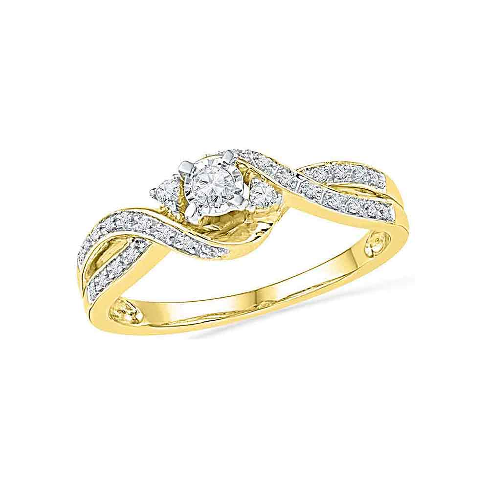 10kt Yellow Gold Womens Round Diamond 3-stone Twist Bridal Wedding Engagement Ring 1/6 Cttw