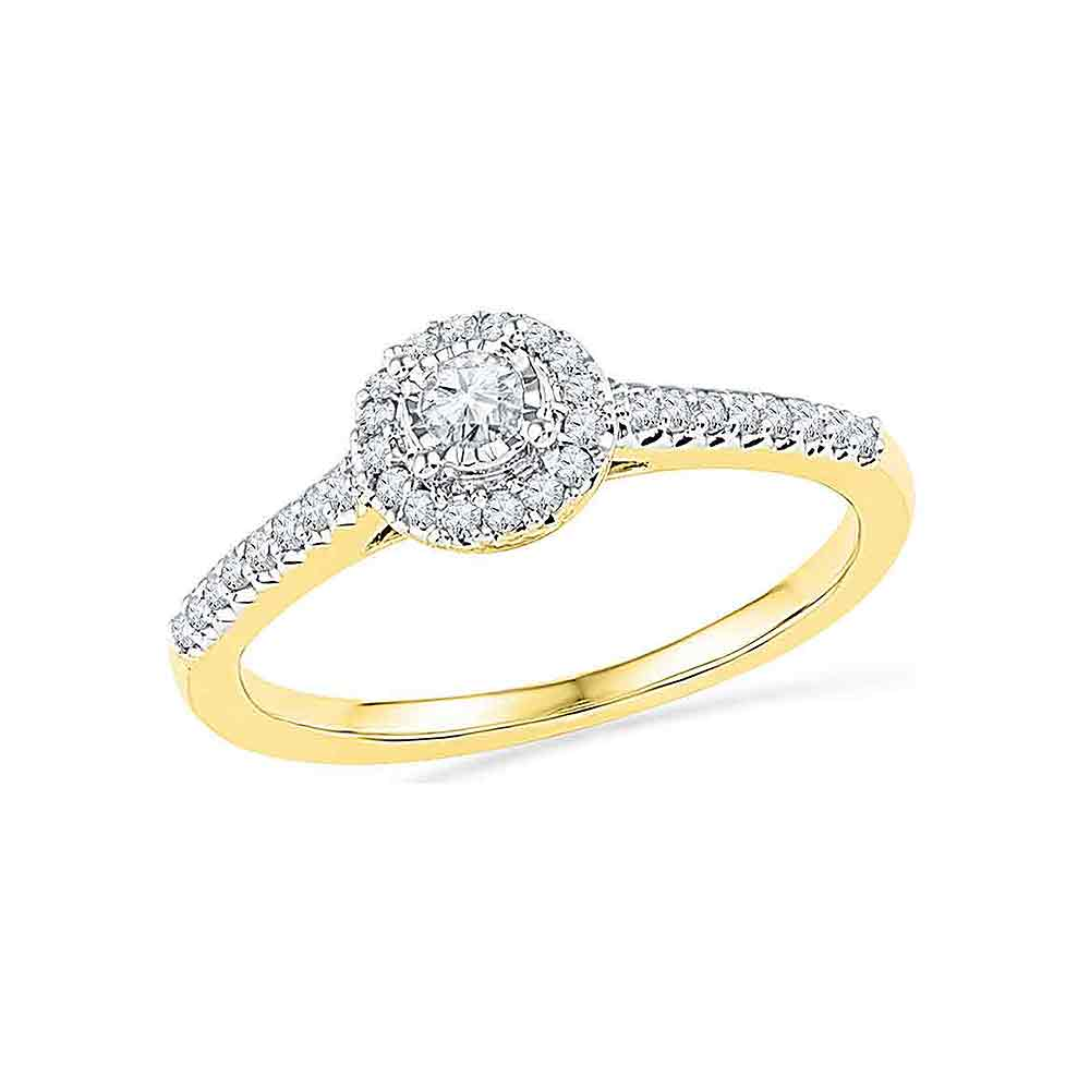10kt Yellow Gold Womens Round Diamond Solitaire Halo Promise Bridal Ring 1/4 Cttw