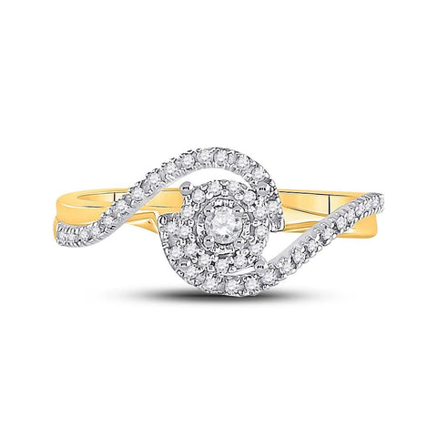10kt Yellow Gold Womens Round Diamond Solitaire Swirl Bridal Wedding Engagement Ring 1/5 Cttw