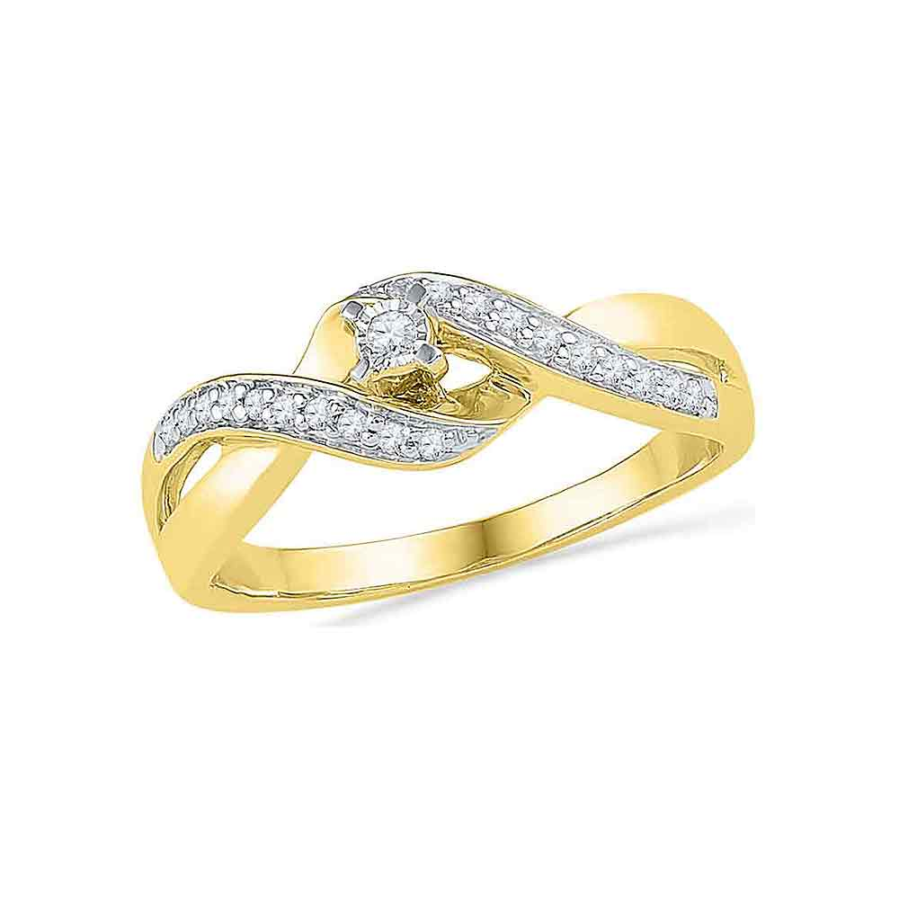 10kt Yellow Gold Womens Round Diamond Solitaire Crossover Twist Promise Bridal Ring 1/5 Cttw