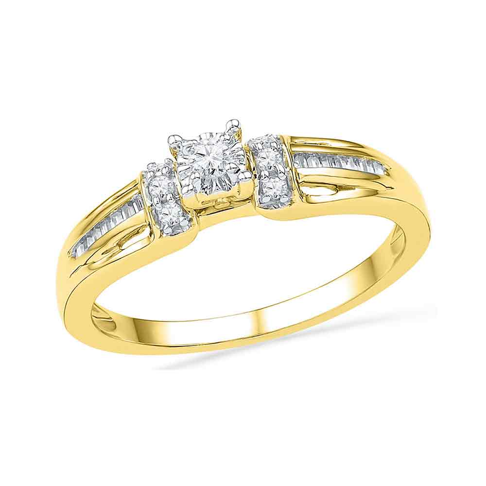 10kt Yellow Gold Womens Round Diamond Solitaire Promise Bridal Ring 1/5 Cttw