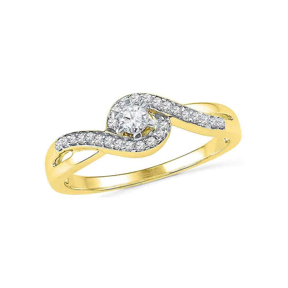 10kt Yellow Gold Womens Round Diamond Solitaire Swirl Promise Bridal Ring 1/5 Cttw