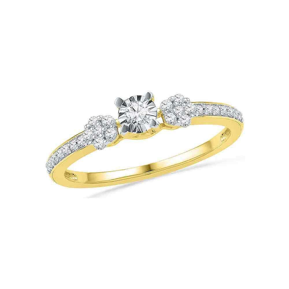 10kt Yellow Gold Womens Round Diamond Solitaire Cluster Promise Bridal Ring 1/4 Cttw