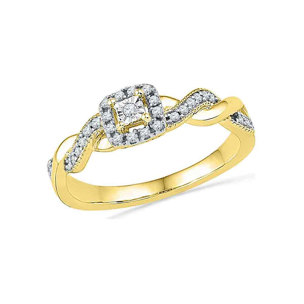 10kt Yellow Gold Womens Round Diamond Solitaire Braided Promise Bridal Ring 1/6 Cttw