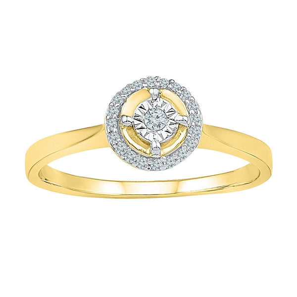 10kt Yellow Gold Womens Round Diamond Solitaire Halo Bridal Wedding Engagement Ring 1/12 Cttw