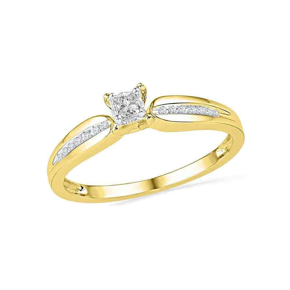 10kt Yellow Gold Womens Princess Diamond Solitaire Promise Ring 1/6 Cttw