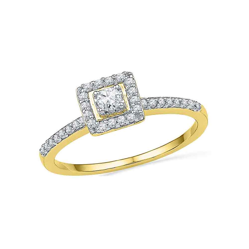 10kt Yellow Gold Womens Round Diamond Solitaire Square Halo Bridal Engagement Ring 1/4 Cttw