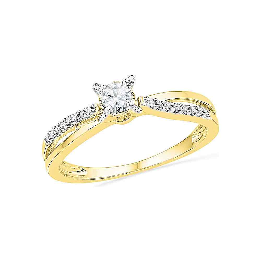 10kt Yellow Gold Womens Round Diamond Solitaire Crossover Promise Bridal Ring 1/4 Cttw