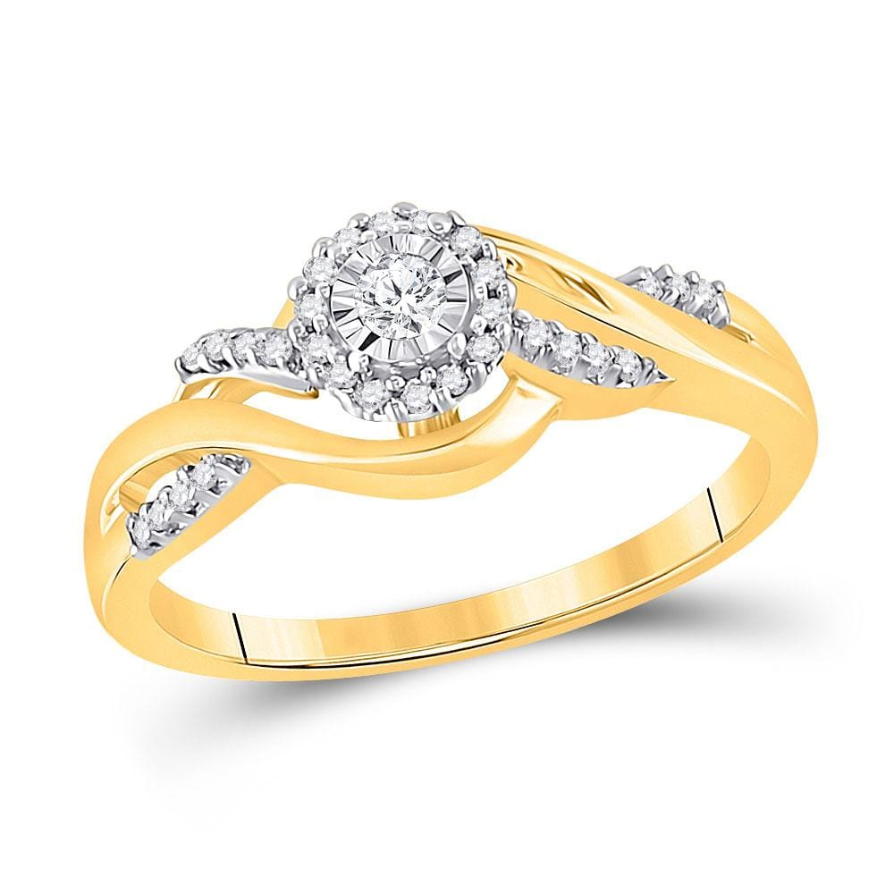 10kt Yellow Gold Womens Round Diamond Solitaire Promise Ring 1/ Cttw
