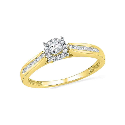 10kt Yellow Gold Womens Round Diamond Solitaire Bridal Wedding Engagement Ring 1/6 Cttw