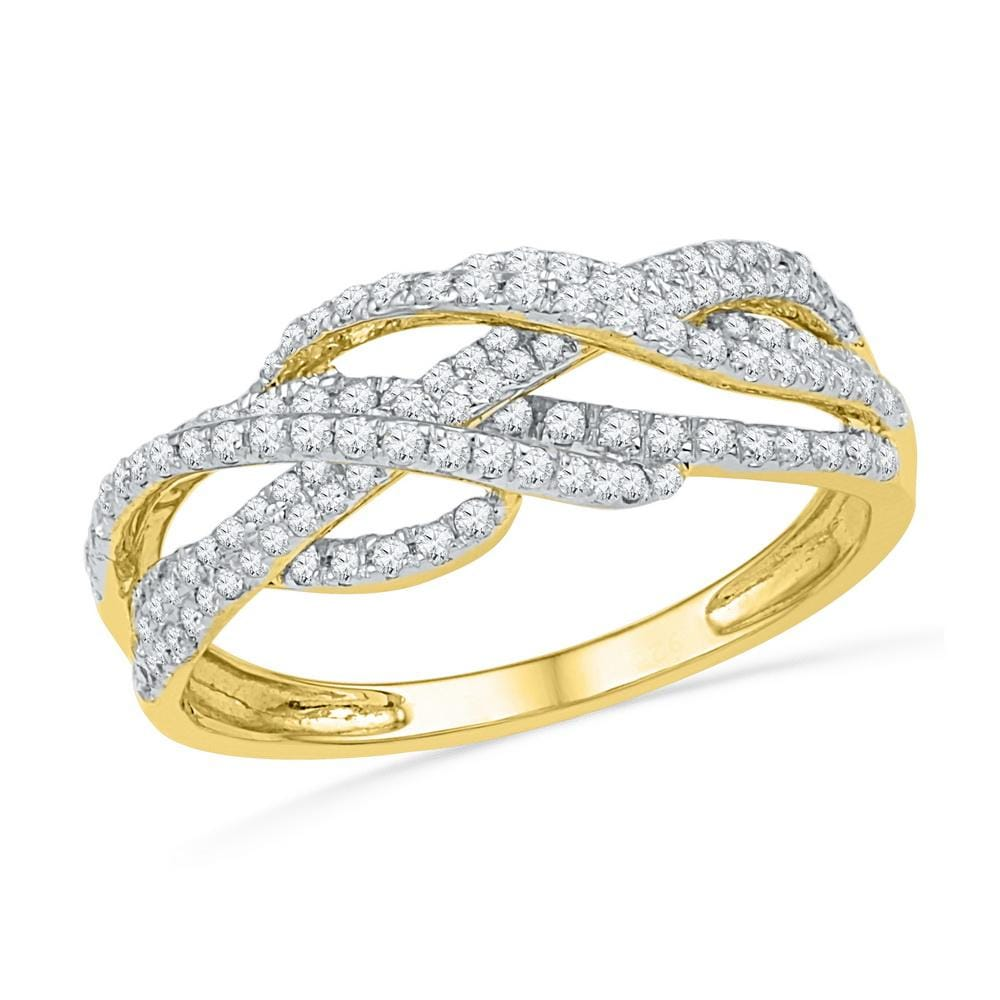 10kt Yellow Gold Womens Round Diamond Woven Crossover Band Ring 1/2 Cttw