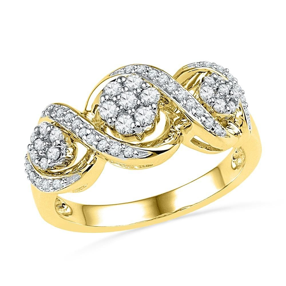 10kt Yellow Gold Womens Round Diamond Triple Flower Cluster Ring 1/3 Cttw