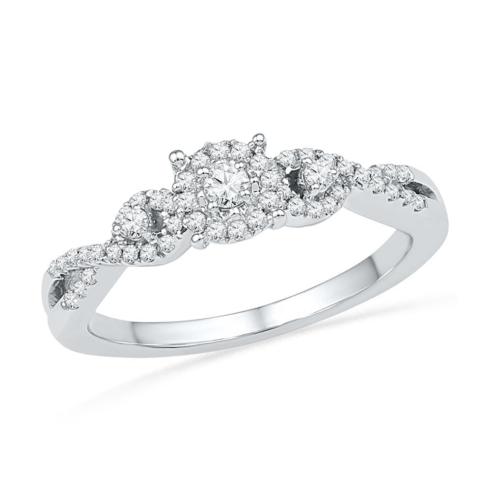 10kt White Gold Womens Round Diamond Solitaire Halo Twist Bridal Wedding Engagement Ring 1/4 Cttw