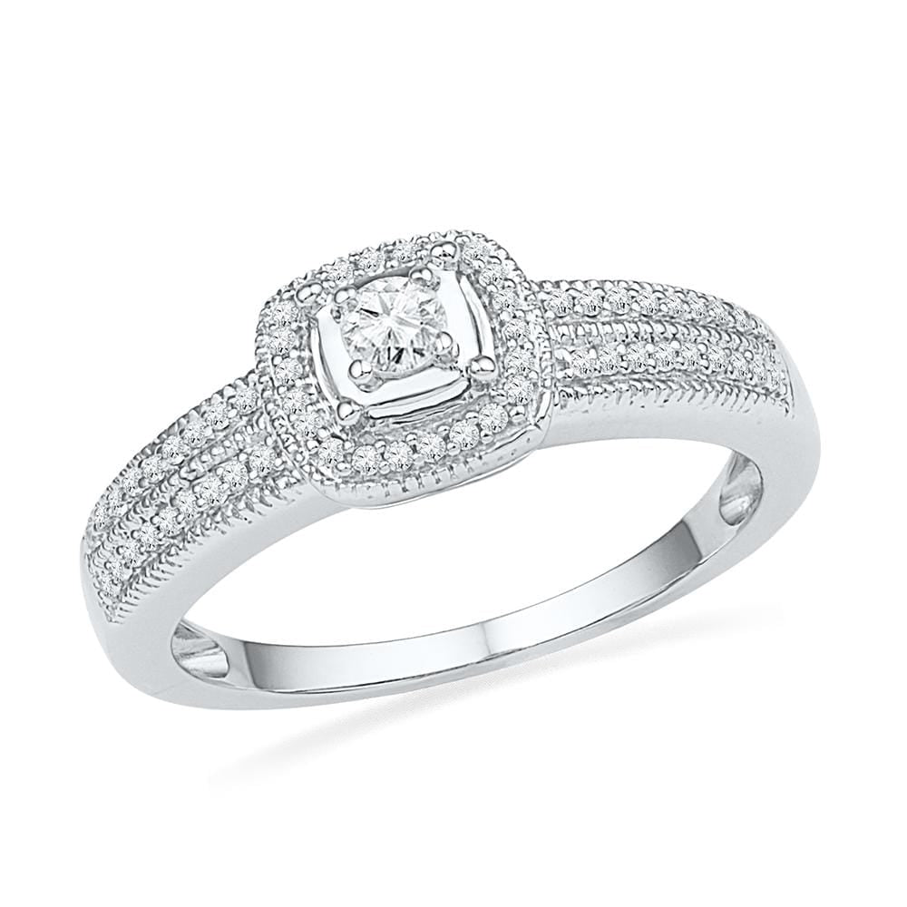10kt White Gold Womens Round Diamond Solitaire Double Row Milgrain Bridal Wedding Engagement Ring 1/4 Cttw