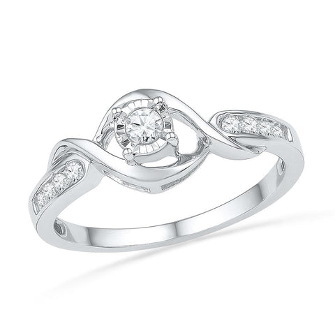 10kt White Gold Womens Round Diamond Solitaire Twist Promise Bridal Ring 1/6 Cttw