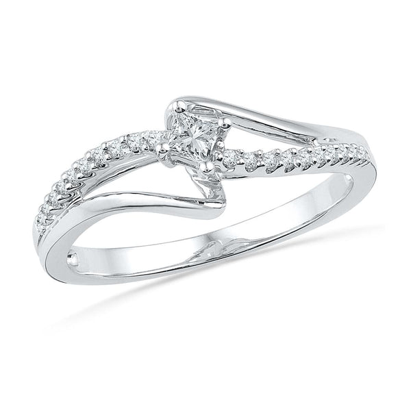 10kt White Gold Womens Round Diamond Solitaire Promise Bridal Ring 1/6 Cttw