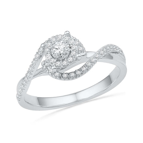 10kt White Gold Womens Round Diamond Solitaire Swirl Bridal Wedding Engagement Ring 1/5 Cttw