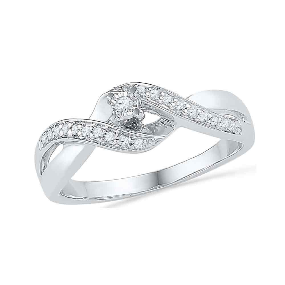 10kt White Gold Womens Round Diamond Solitaire Crossover Twist Promise Bridal Ring 1/5 Cttw