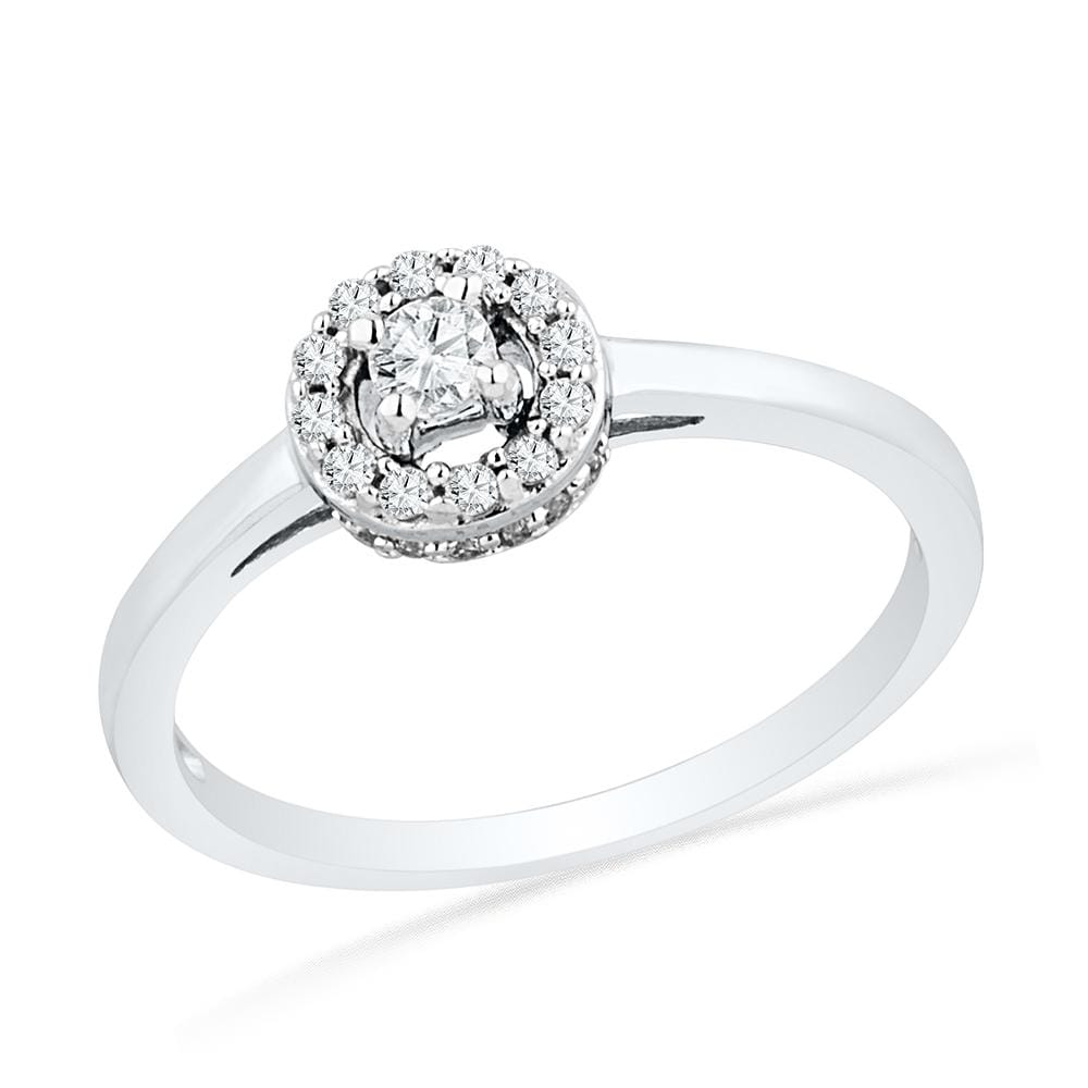10kt White Gold Womens Round Diamond Solitaire Halo Promise Bridal Ring 1/4 Cttw