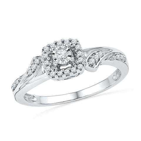 10kt White Gold Womens Round Diamond Solitaire Halo Bridal Wedding Engagement Ring 1/6 Cttw
