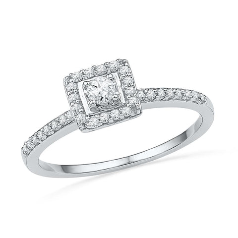 10kt White Gold Womens Round Diamond Solitaire Square Halo Bridal Engagement Ring 1/4 Cttw