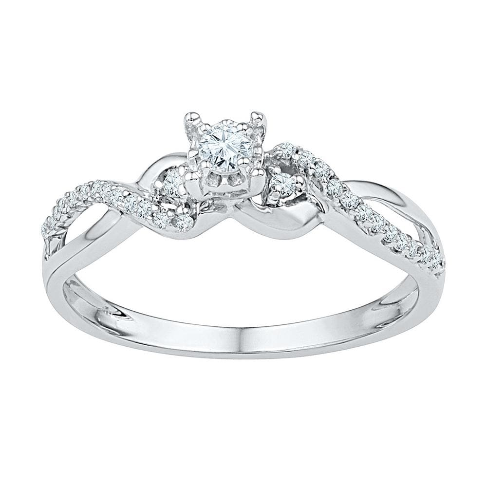 10kt White Gold Womens Round Diamond Solitaire Crossover Promise Bridal Ring 1/4 Cttw
