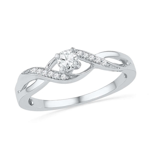 10kt White Gold Womens Round Diamond Solitaire Crossover Twist Promise Bridal Ring 1/6 Cttw