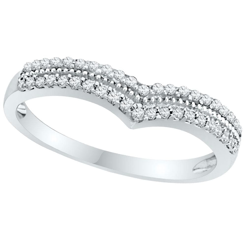 10kt White Gold Womens Round Diamond Chevron Band Ring 1/4 Cttw