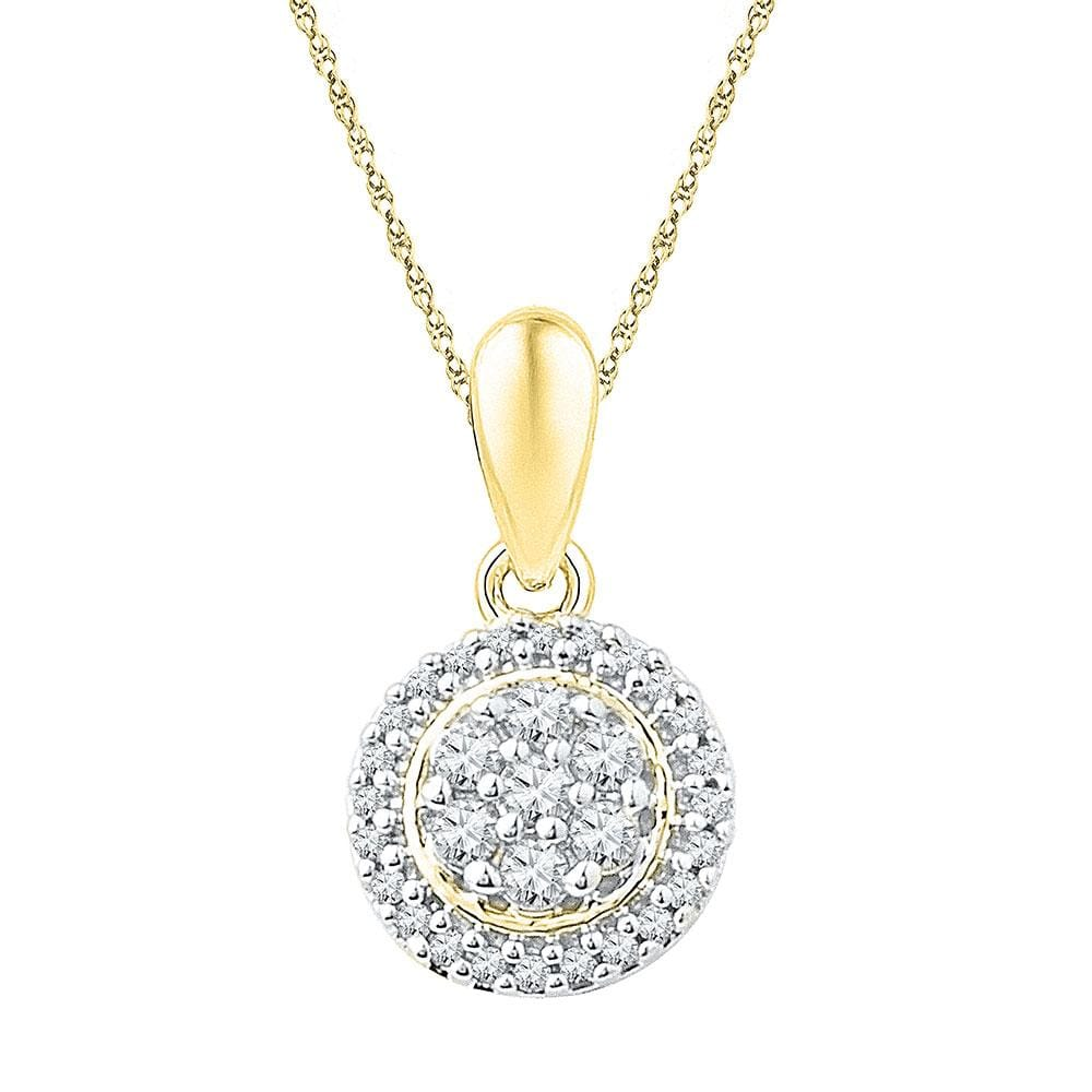 10kt Yellow Gold Womens Round Diamond Halo Flower Cluster Pendant 1/4 Cttw