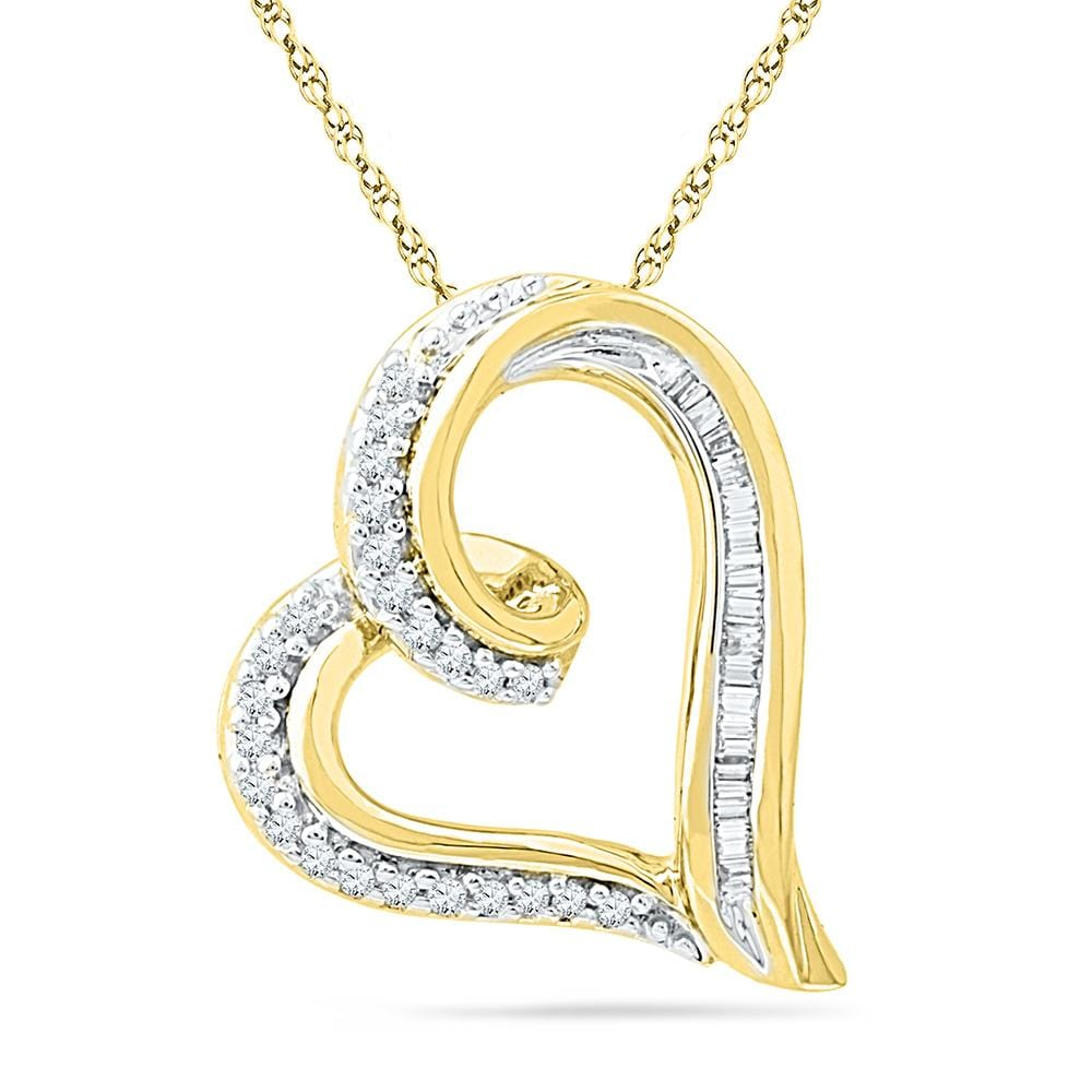 10kt Yellow Gold Womens Round Diamond Heart Outline Pendant 1/6 Cttw