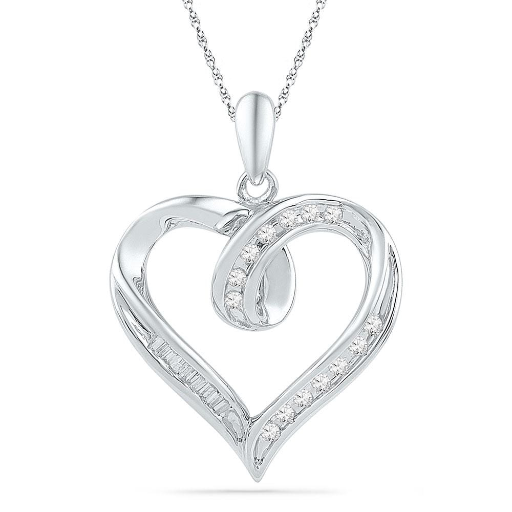 10kt White Gold Womens Round Diamond Heart Outline Pendant 1/6 Cttw