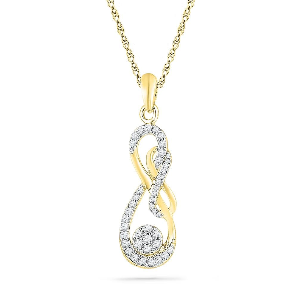 10kt Yellow Gold Womens Round Diamond Infinity Nested Cluster Pendant 1/4 Cttw