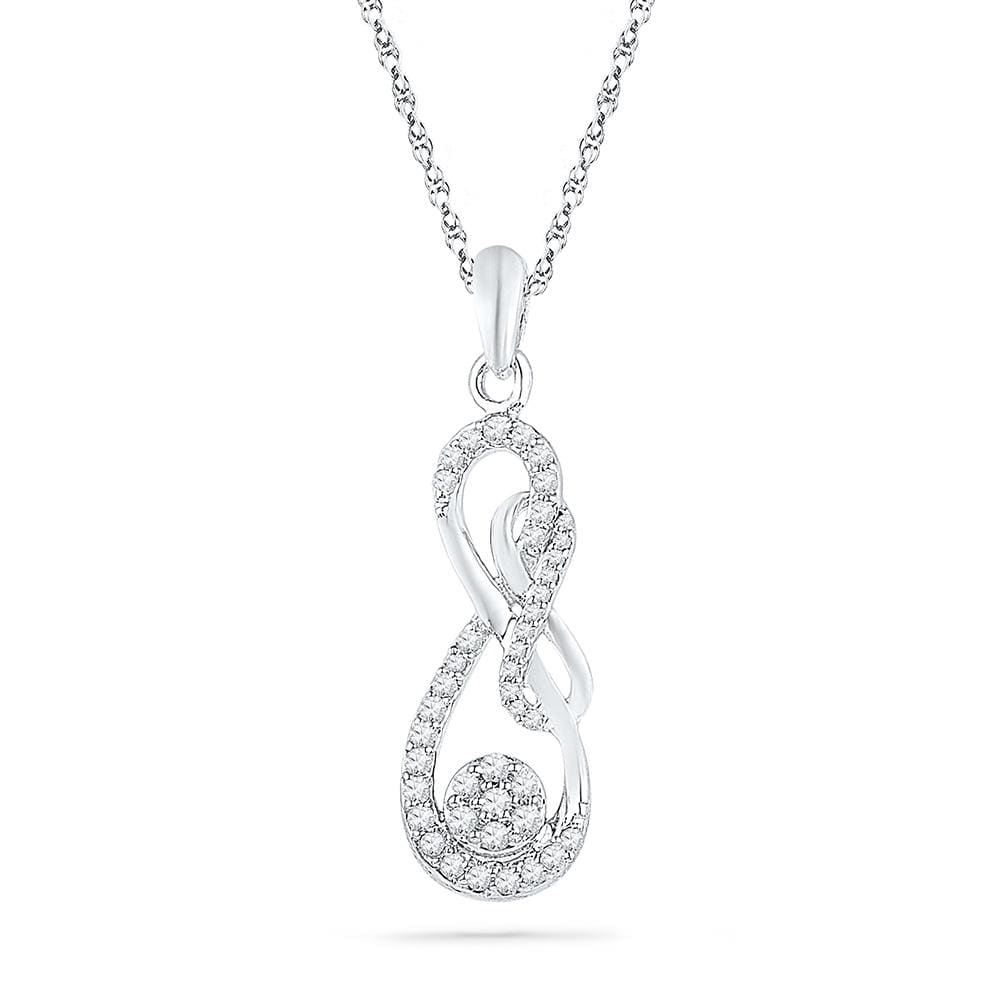 10kt White Gold Womens Round Diamond Infinity Nested Cluster Pendant 1/4 Cttw