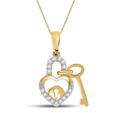 10kt Yellow Gold Womens Round Diamond Heart Lock Key Dangle Pendant 1/10 Cttw