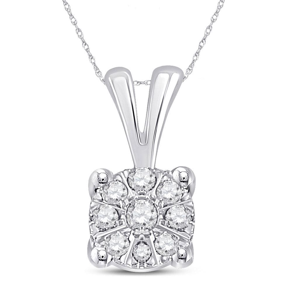10kt White Gold Womens Round Diamond Cluster Pendant 1/12 Cttw