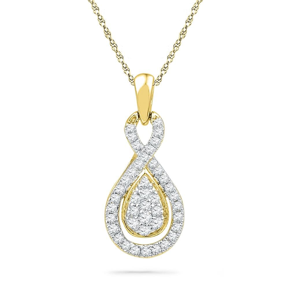 10kt Yellow Gold Womens Round Diamond Teardrop Cluster Pendant 1/3 Cttw