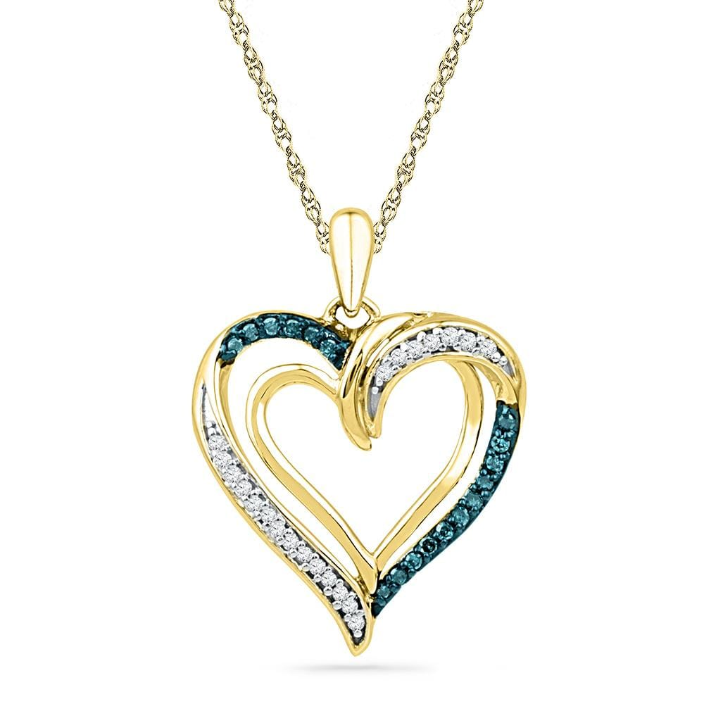 10kt Yellow Gold Womens Round Blue Color Enhanced Diamond Heart Love Pendant 1/6 Cttw