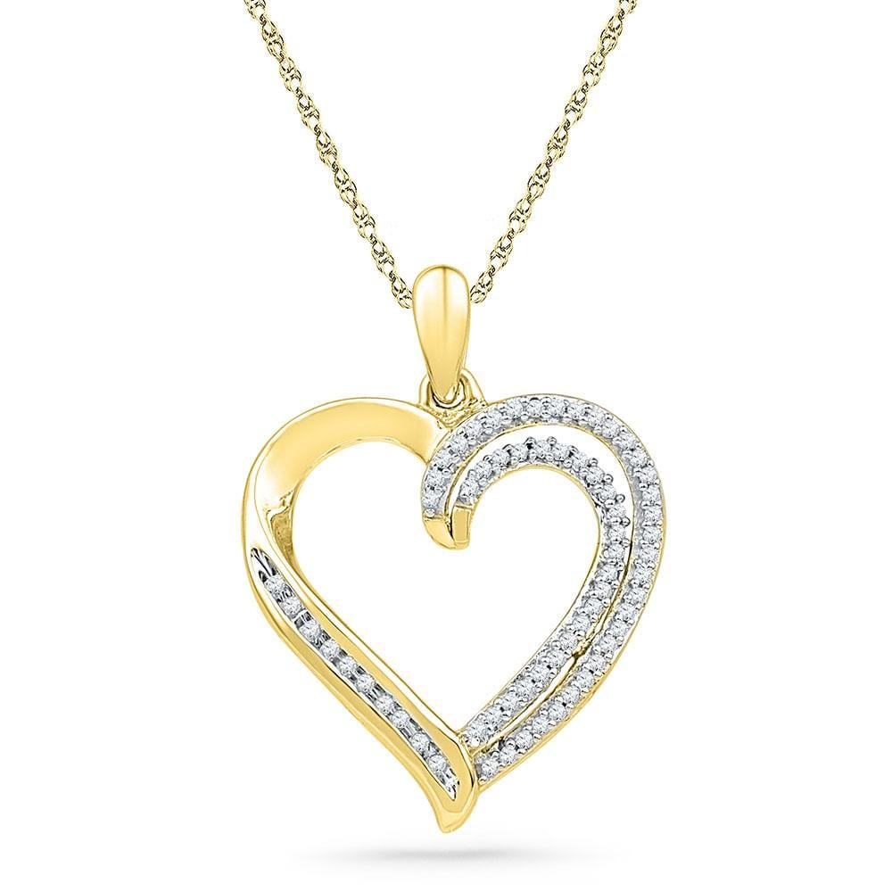 10kt Yellow Gold Womens Round Diamond Open-center Heart Pendant 1/4 Cttw